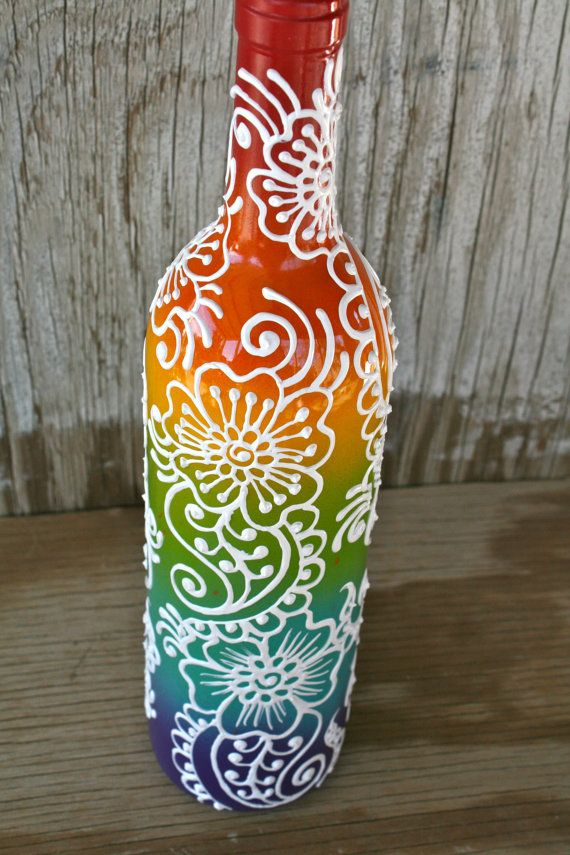 Rainbow Colored Hand Painted Wine Bottle Vase by LucentJane