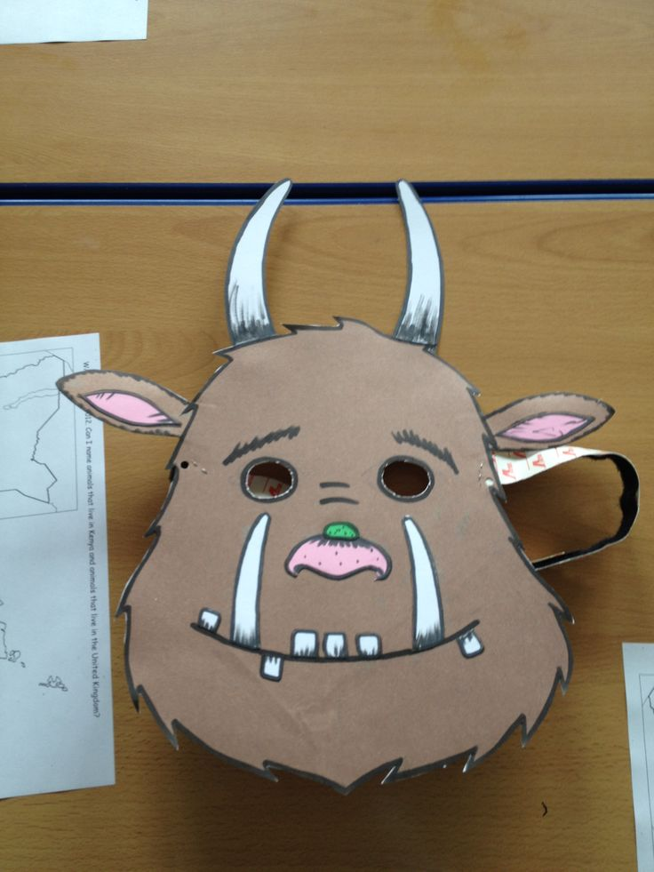 Gruffalo hot seating! simply make mask out of card, use velcro for strap so can adjust for children to wear. I also wore my girlfriends fur coat to finish the outfit off and there is a one boy now in year 2 who still believes he met the real gruffalo!