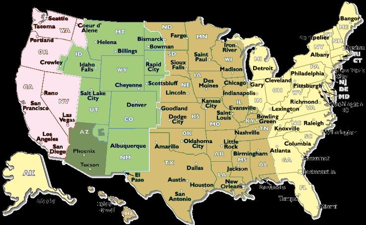 Cambio de hora 2012 USA Estados Unidos (Mapa) Horario verano-invierno USA