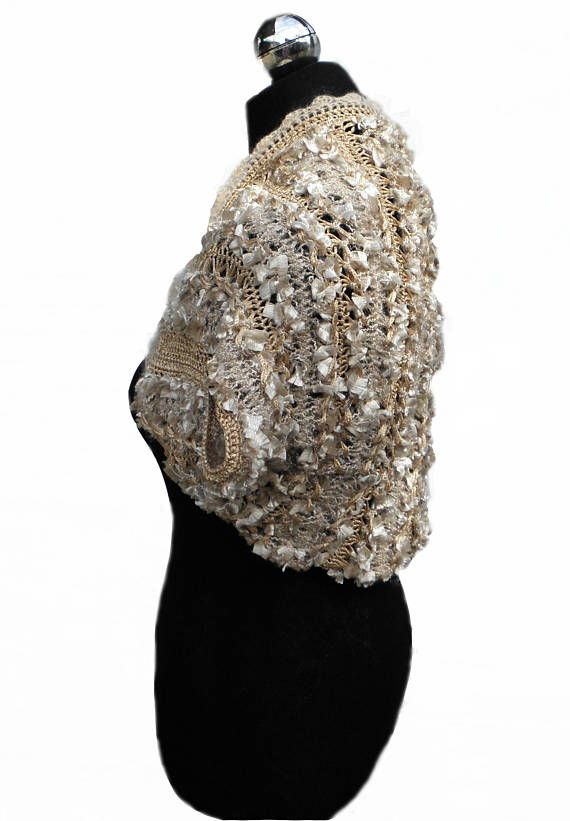 Golden bolero Gold shrug Bridal bolero Brudal cover up Party