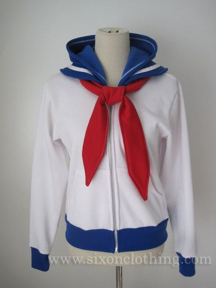 Sailor Moon Seifuku Hoodie Jacket by SixOnClothing on Etsy, $60.00