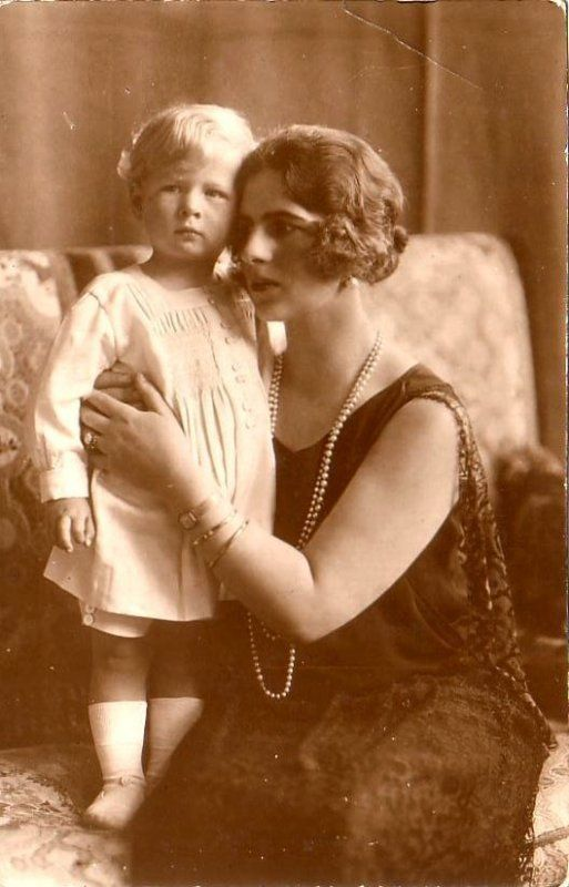 Princess Helen of Romania, nee of Greece, with her only child, Prince Michael, later the last King of Romania.  Michael would reign twice: as a child from 1927--1930 after his father renounced the throne; and as a (very) young adult from 1940--1947, when he was forced to abdicate by the Communists.