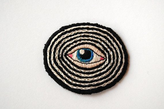 "Hypno - Blue Eye on Black and White - Hand Embroidered 2.5"" Patch on Etsy, $38.50"