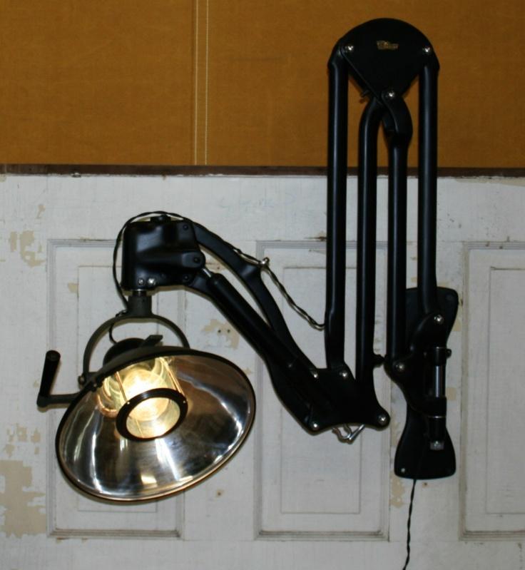 Vtg Antique Dental Medical Scissor Arm Lamp Industrial