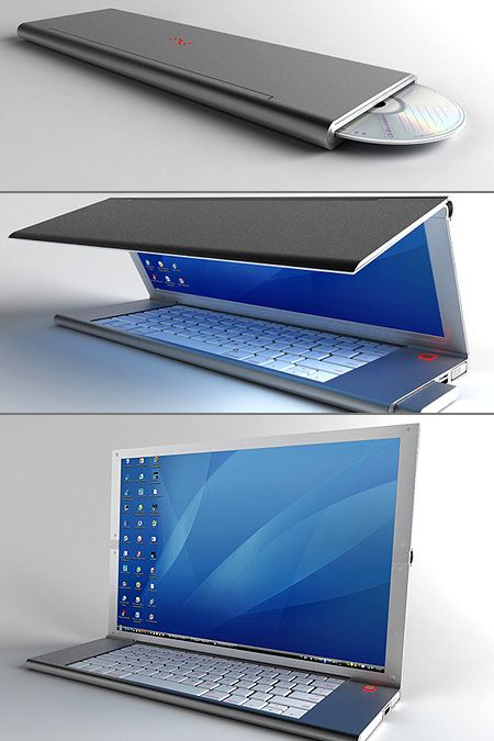 "Called ""Feno"", this sleek and portable notebook computer comes equipped with a flexible OLED display, full-sized keypad and pop-out mouse, all packed into a foldable design. Simply unfold everything, and you've got yourself a desktop computer, complete with mouse."