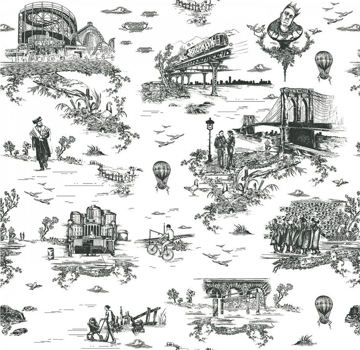 Photo Brooklyn Toile by Flavor Paper Toile wallpaper