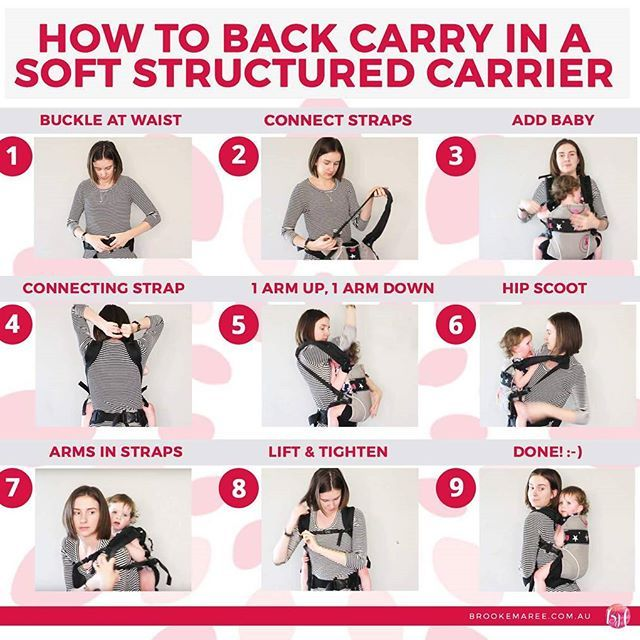 """- s t e p - b y - s t e p -  A handy reference infographic on how to get baby from your front to your back in a soft-structured carrier (like the Manduca or Kokadi Flip). 😊 This is called the """"Walk like an Egyptian"""" technique. 💪  For a full description, click the link in our profile - back carrying in an SSC is our article for this week! ❤  #babywearing #bliss #brookemaree #infographic #info #graphic #tutorial #manduca #mother #Baby #blog #Blogger #blogging #article #link #share"""