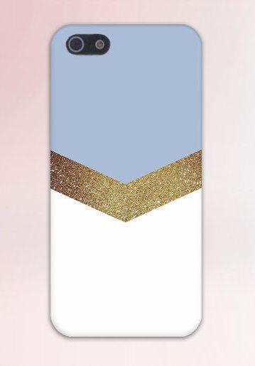 Gold Glitter x Sky Blue Chevron Design Case