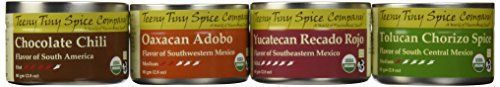 Teeny Tiny Spice Company Organic Mexican Spice Blends Variety Pack, Four 2.8 Oz Tins - http://goodvibeorganics.com/teeny-tiny-spice-company-organic-mexican-spice-blends-variety-pack-four-2-8-oz-tins/