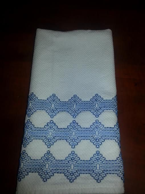 Blue Swedish Weaving on Huck Tea Towel by OuiOuiQueenBee on Etsy, $11.00