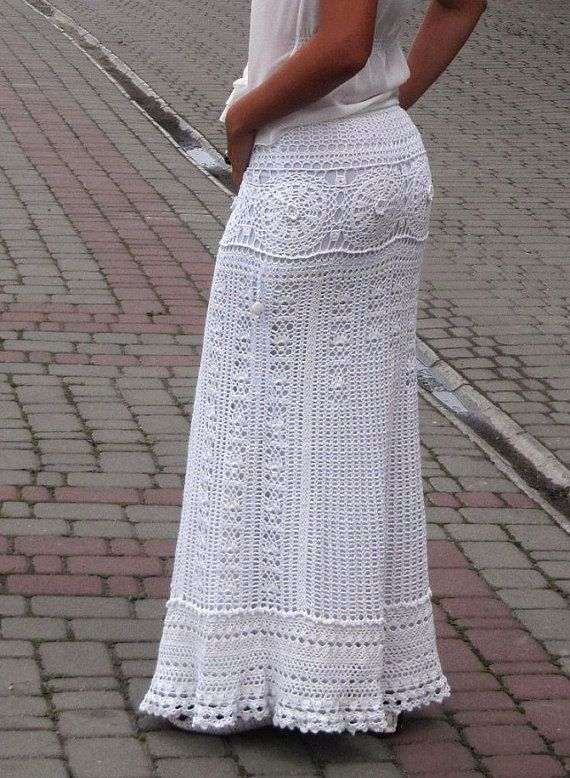 White maxi skirt wedding skirt bohemian skirt white by TaramayKnit