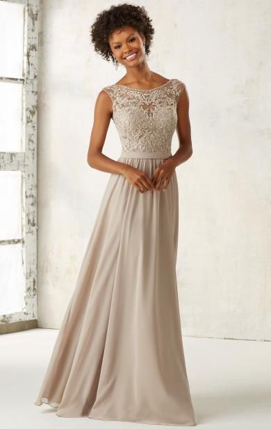 Modest Champagne Long Bridesmaid Dress BNNDL0001
