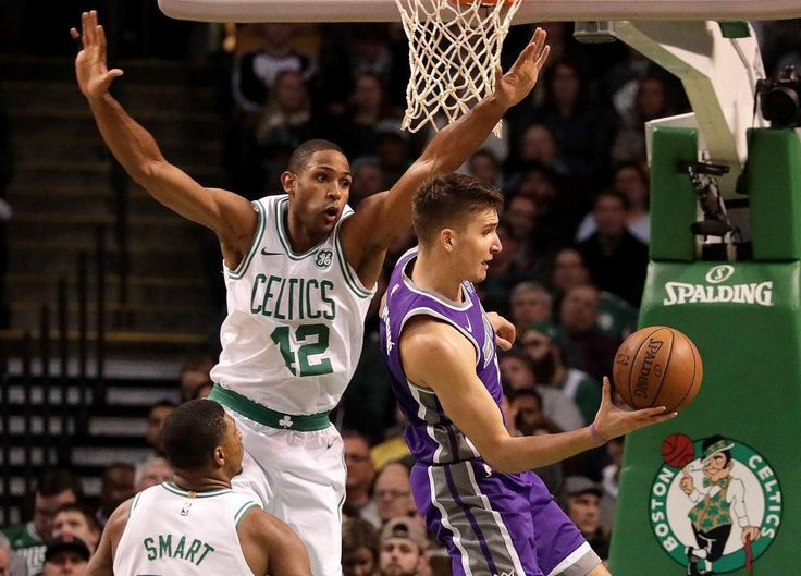 Boston, MA - 11/01/2017 - (1st quarter) Sacramento Kings guard Bogdan Bogdanovic (8) looks for an outlet as Boston Celtics forward Al Horford (42) swoops in on defense during the first quarter. The Boston Celtics host the Sacramento Kings at TD Garden. - (Barry Chin/Globe Staff), Section: Sports, Reporter: Adam Himmelsbach, Topic: 02Celtics-Kings, LOID: 8.3.4204996413.