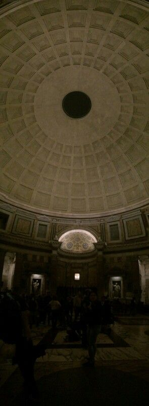 """The oculus is clearly visible on this photo. The 16 pillars of the Pantheon, weighing 60 tons each, were imported from Egypt and arrived in Ostia! Pantheon means """"honor to all gods"""" in Greek. It was also built in honor of all gods, but we don't know exactly when."""