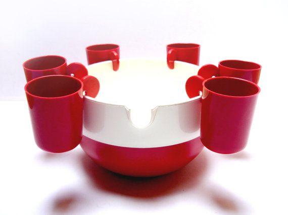 Design punch set . Red & white plastic bowl and by FeelingOfDejaVu