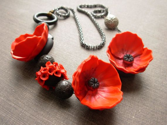 AWHOLIDAY Poppy polymer clay necklace by APolymerPenchant on Etsy, $95.00