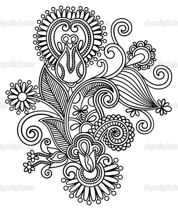 Line Drawing Styles : Line art intricate design coloring pages