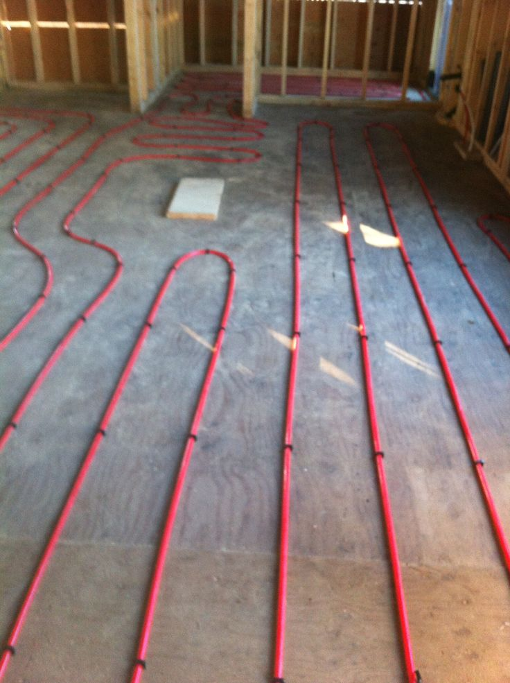 Radiant heated floor pre concrete placement small house for Radiant heat flooring options