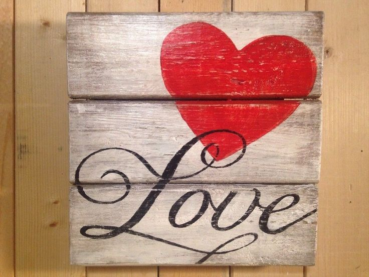 RED LOVE INSPIRATIONAL Primitive Rustic Pallet SIGN•Country Decor Handmade Heart | eBay