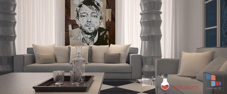 Luxury lobby, interior render