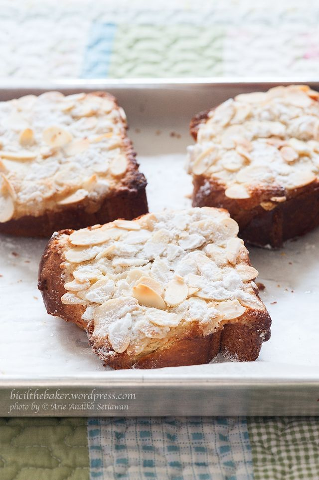 Brioche toast with almond paste and almonds. I saw this on Unique Sweets on the food network- mouth watering :) PS I hate you carbs!