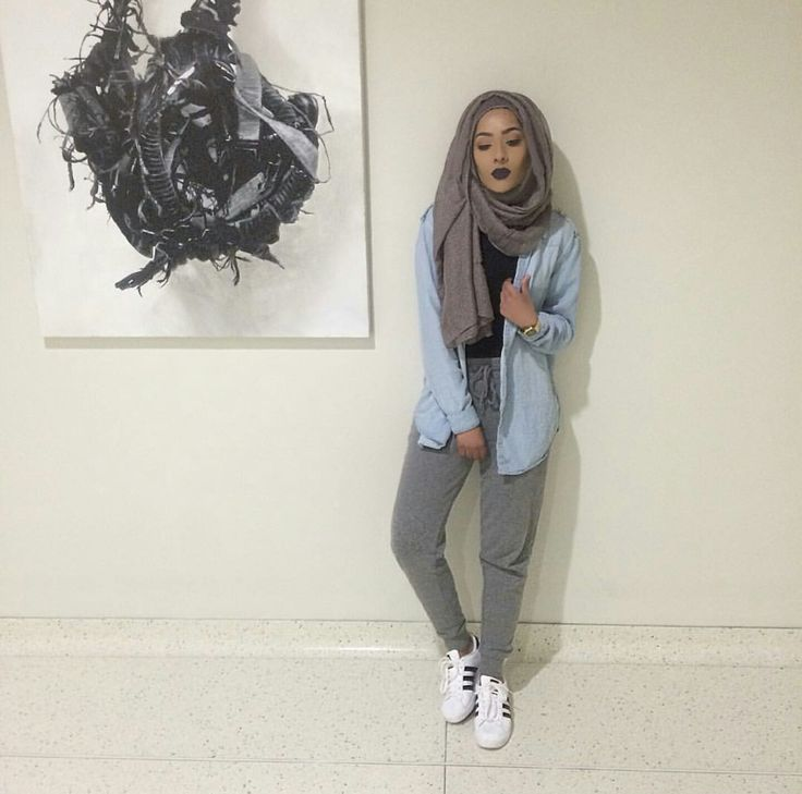 Pinterest: @eighthhorcruxx. Super casual. Grey jogging bottoms, black top, Chambray Shirt and hijab