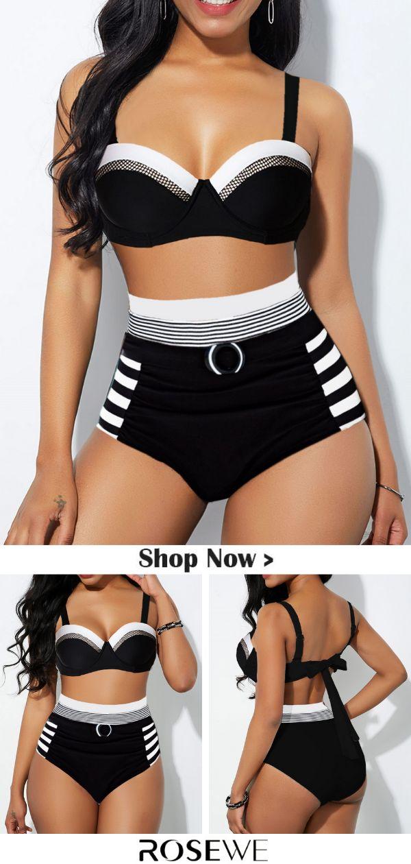 Hot Sale & Tie Back Spaghetti Strap High Waist Bikini Set