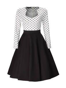 Black White Polka Dot Plus Size Flared Dress