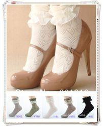 Zachte- fit dames prinses vintage retro frilly katoenen kant ruche korte sokken gratis verzending partij van 20 prs mix kleuren