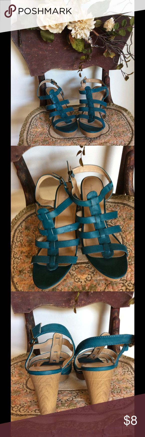 Teal Blue Strappy Heel Sandals🌿 Gently preloved in good condition.  Beautiful color. Man made materials.  2 1/2 inch heel. Gold colored buckles at ankle strap. Charming Charlie Shoes Sandals