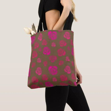 Red Pink and Magenta Roses on Sable Brown Tote Bag - red gifts color style cyo diy personalize unique