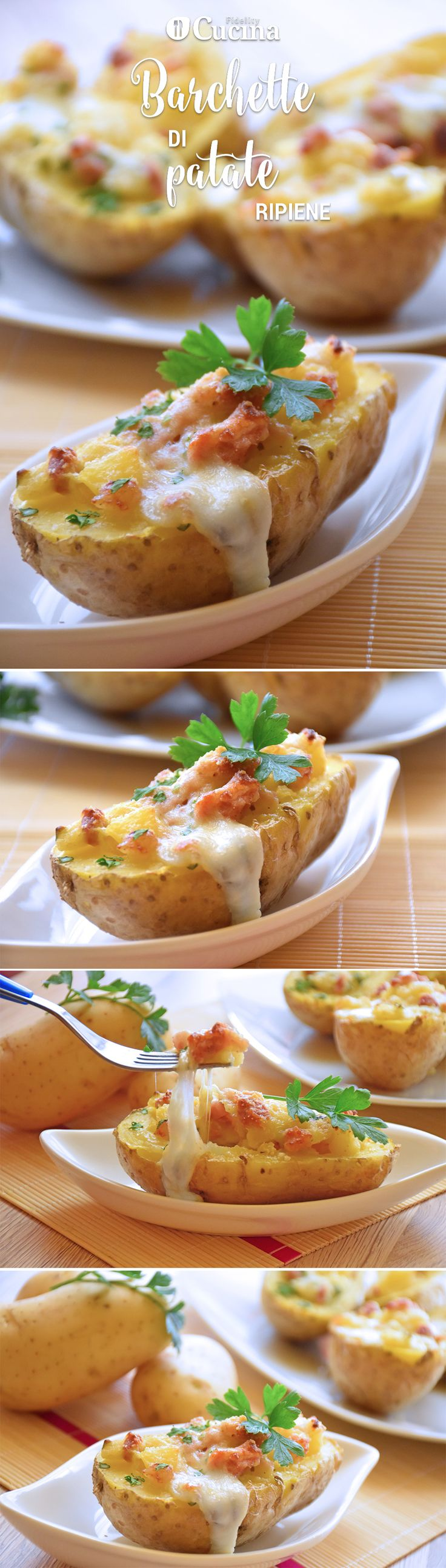 Le barchette di #patate ripiene sono un antipasto originale, ricco di sapore e…