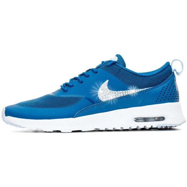 Blinged Womens Nike Air Max Thea Running Shoes Brigade Blue White... ($155) ❤ liked on Polyvore featuring shoes, athletic shoes, silver, sneakers & athletic shoes, tie sneakers, women's shoes, running shoes, blue and white shoes, tie shoes and athletic running shoes