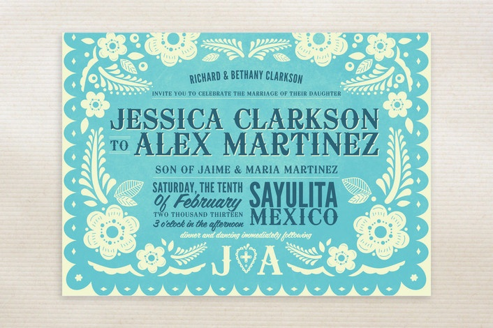 Modern mexican Save the Date cards