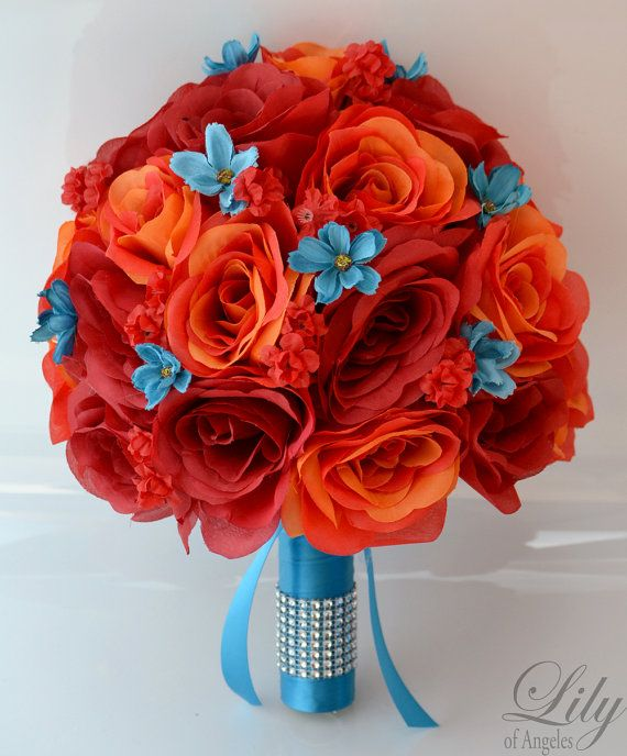 Model: ORTU01  This wedding flower package is made with red and orange open Roses accented with turquoise mini cosmos and red Babys Breath.    17