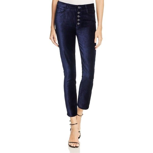 Paige Hoxton Ankle Peg Jeans in Velvet - 100% Exclusive (315 CAD) ❤ liked on Polyvore featuring jeans, deep navy velvet, super high rise skinny jeans, vintage high waisted jeans, embellished skinny jeans, vintage skinny jeans and super high-waisted skinny jeans
