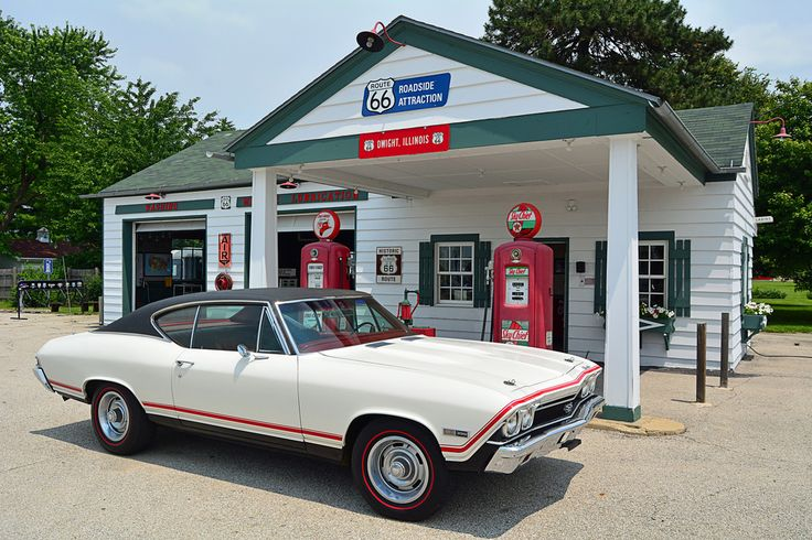 Took my '68 Chevelle out for a little cruise along Route 66 in Central Illinois. Stopped here at the restored Ambler's Texaco Station in Dwight. Nicely preserved piece of American road history.