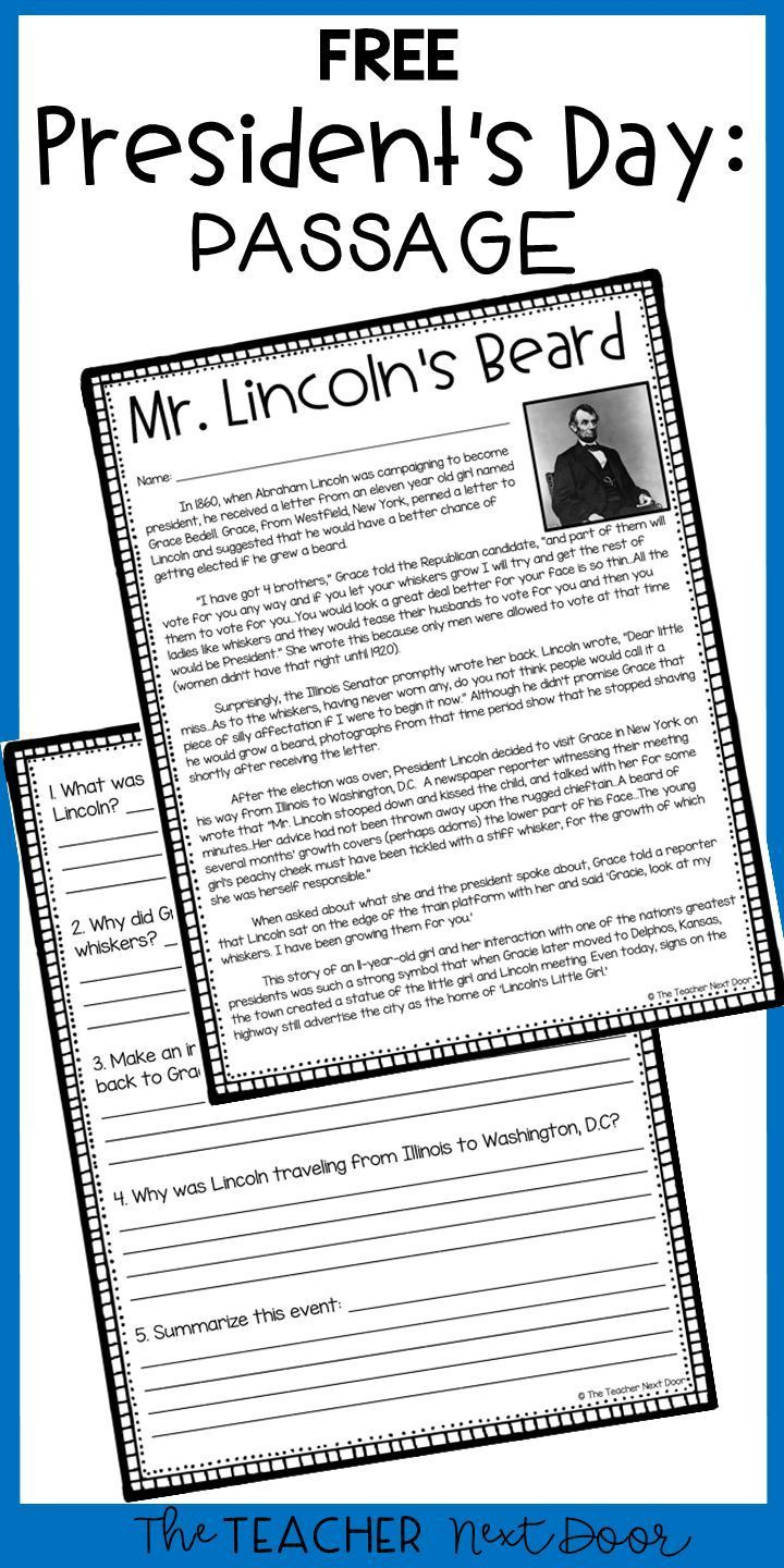 Free President S Day Passage Presidents This Free President S Day Reading Comprehension Passage And Que Teaching Reading Third Grade Reading 4th Grade Reading Free presidents day worksheets