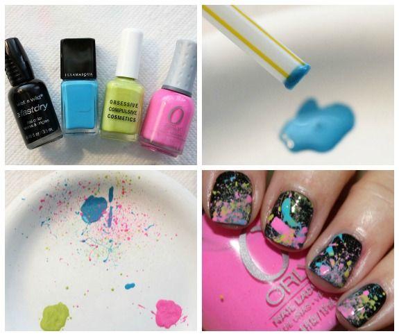 s Paint Splatter Manicure Collage Neon 80s Paint Splatter Manicure Tutorial