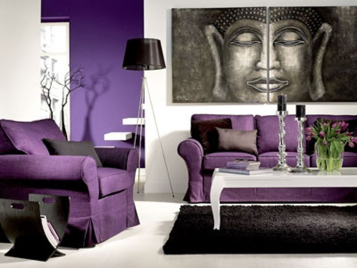 dekoideen wohnzimmer lila wohnzimmer im asiatischen stil hause - Wandgestaltung Wohnzimmer Grau Lila