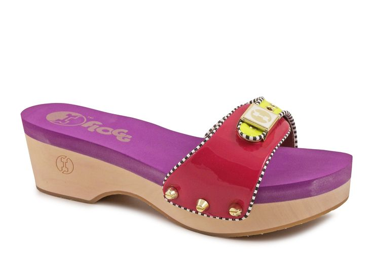 Floggs mules Milana in fuxia yellow patent leather - Italian Boutique €65