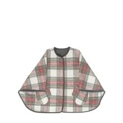 STELLA MCCARTNEY KIDS - REVERSIBLE WOOL CAPE     Concealed snap button closure. Reversible with one side checked and one side solid. Mitten shaped front pockets