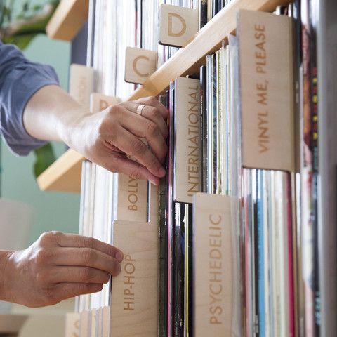 6 panel set of wood vinyl record dividers, horizontal orientation