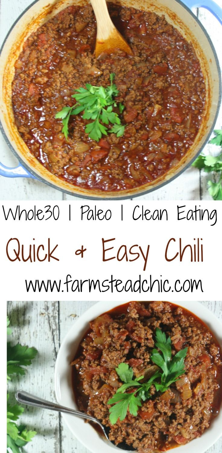 This Paleo & Whole30 Chili uses only 8 ingredients (+S&P), comes together quickly and easily with minimal cleanup, and is still healthy and kid-friendly!