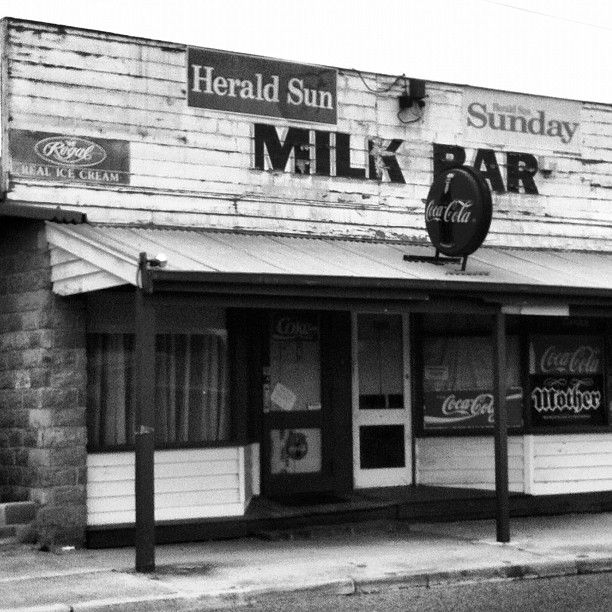 Old school milk bar in Australia! Milk Bar (vintage ). I remember buying lollies like bullets, freckles, musk sticks, milk bottles and bananas.