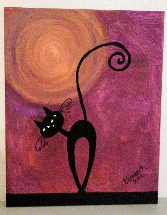 Black Cat by MoxieGirlPaintings on Etsy