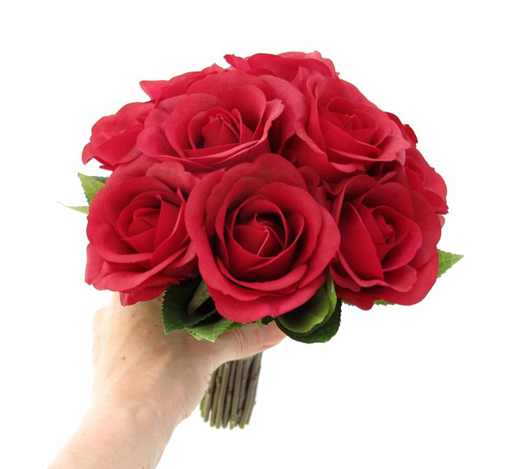 A medium posy of red Fresh Touch roses by https://www.loveflowers.com.au