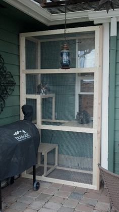LOVE this screened in outdoor cat area.. My inside cats would LOVE to be able to climb out a window for some fresh air