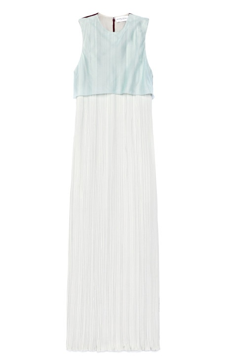 Sleeveless Crush Pleated Silk Cady Mid Dress by Barbara Casasola for Preorder on Moda Operandi