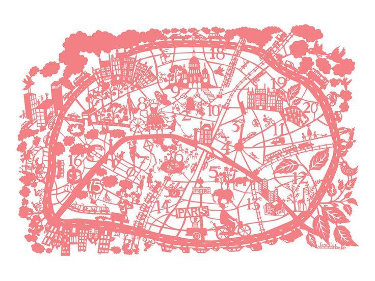 Paris Map; Famille Summerbelle: Paris Maps, Travel Maps, For Kids, Cities Maps, Paris Prints, Maps Travel, Maps Prints, Paper Cups, Kids Rooms